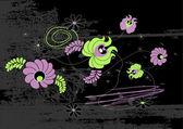 Siyah zemin üzerine yeşil ve mor çiçekler. vektör sanat — Stok Vektör
