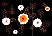 Pattern of white flowers on black background. Vector — Stock Vector