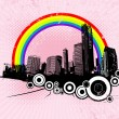 Retro city with rainbow. Vector art. - Stok Vektr