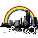 Retro city with rainbow. Vector art. — Stock Vector