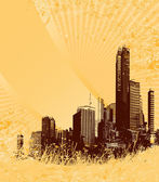 Silhouette of brown city on yellow grunge background. Vector art. — Stock Vector