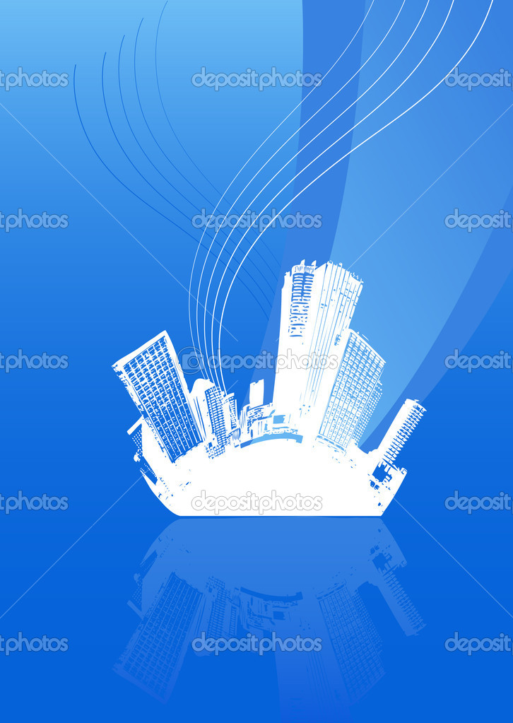 White city with lines and blue background. Vector art — Stock Vector #6448125