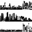 Black and white panorama cities. Vector art — Stock Vector #6493459