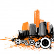 Skyscrapers with circles and orange splash. Vector - Imagen vectorial