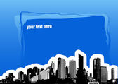 City with place for text on blue background. Vector art — Stock Vector