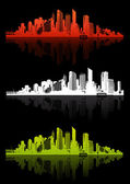 3 cities with different color. Vector art — Stock Vector