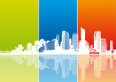 Panorama of city with colored strips. Vector — Stock Vector