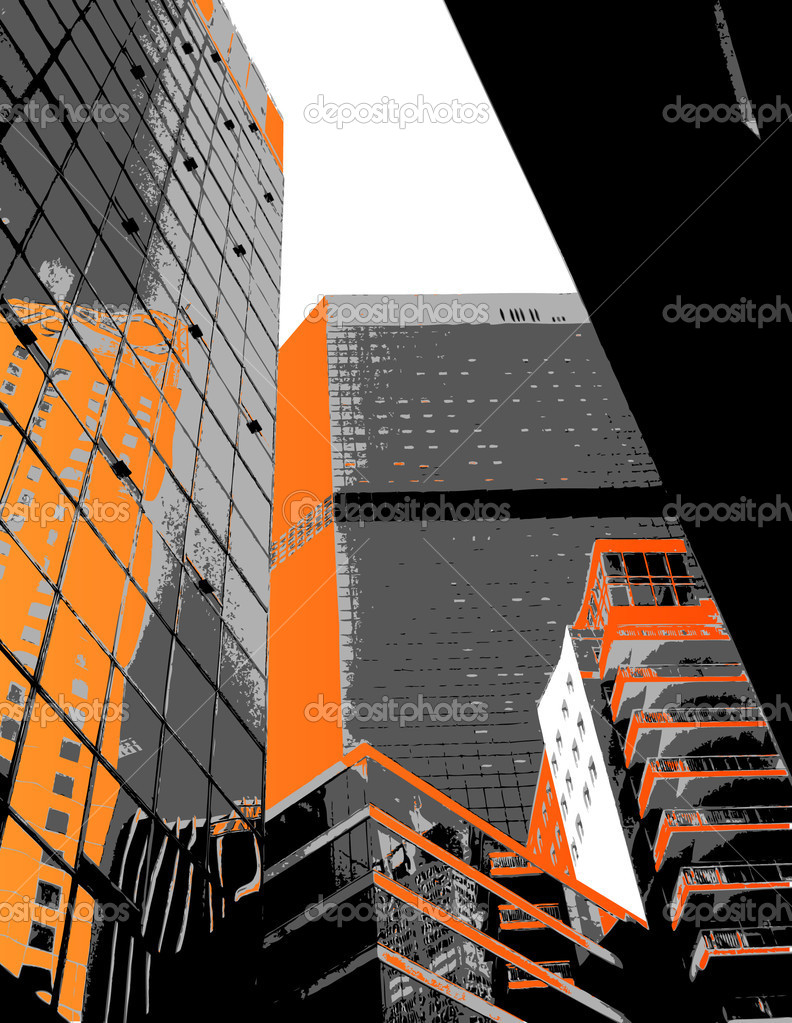 Skyscrapers with orange parts. Vector art — Stock Vector #6493460