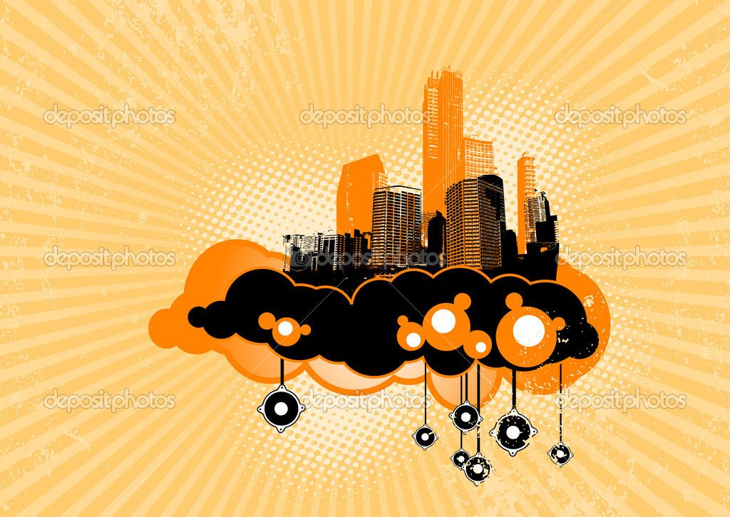 Flying city with speakers. Vector art — Stock Vector #6493471