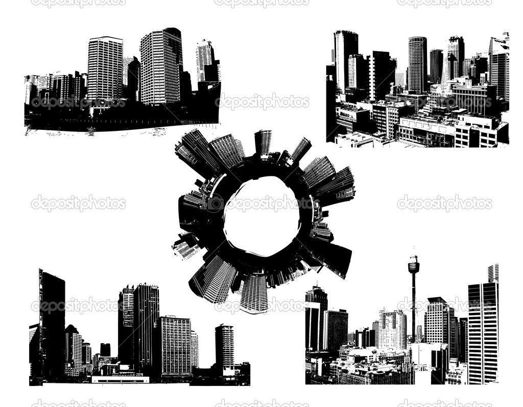 Black and white panorama cities. Vector art — Stock Vector #6494378