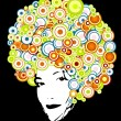 Afro style with circles. Vector art — Stock Vector
