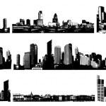 Black and white panorama cities. Vector art — Stock Vector