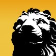 Black and white lion on yellow background. Vector — Stock Vector