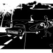 Vector de stock : Illustration of oldtimer and woman with surf. Vector