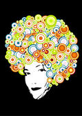Afro style with circles. Vector art — 图库矢量图片