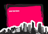 City with place for text on black background. Vector — Stock Vector