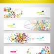 Set of abstract colorful web headers. - Stockvectorbeeld