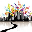 Royalty-Free Stock Vector Image: City with colored tunes.