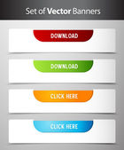 Set of download and click here buttons. — Stock Vector
