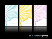 3 separate gift cards with sun hiding behind the cloud. — Stock Vector