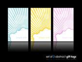 3 separe las tarjetas de regalo con sol ocultándose detrás de la nube. — Vector de stock