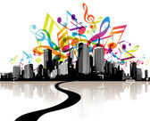 City with colored tunes. — Stock Vector