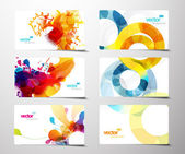 Conjunto de tarjetas de regalo abstracto colorido splash. — Vector de stock