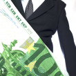 Businessman with big EURO — Stock Photo