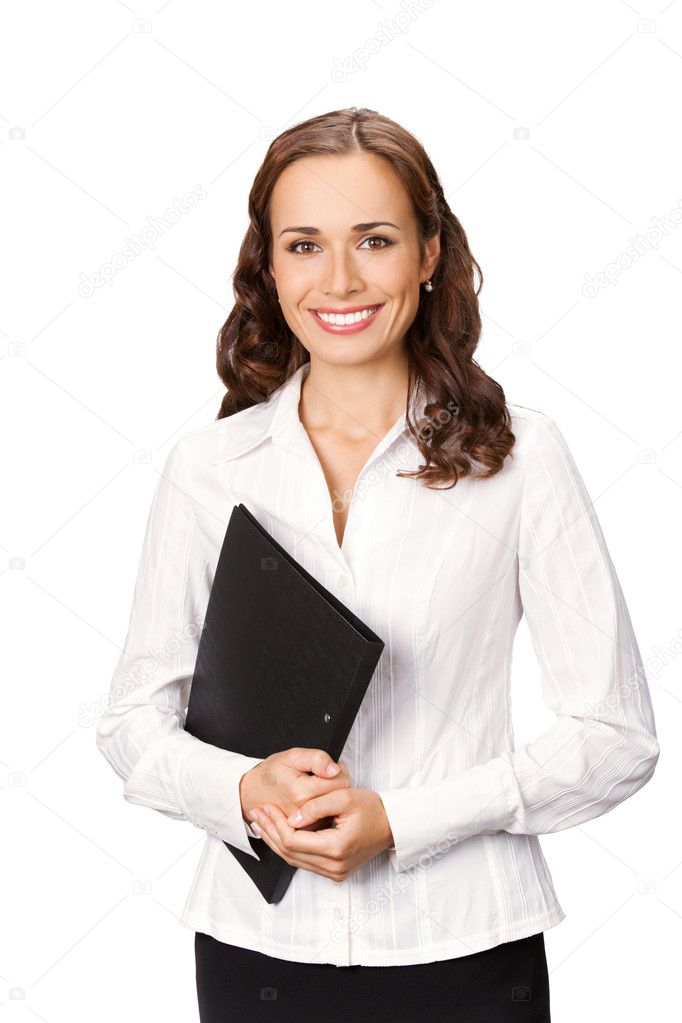 Portrait of young happy smiling businesswoman with black folder, isolated on white background — Stock Photo #6299633