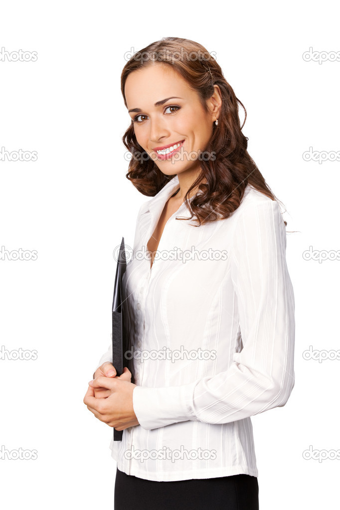 Portrait of young happy smiling businesswoman with black folder, isolated on white background — Stock Photo #6299644