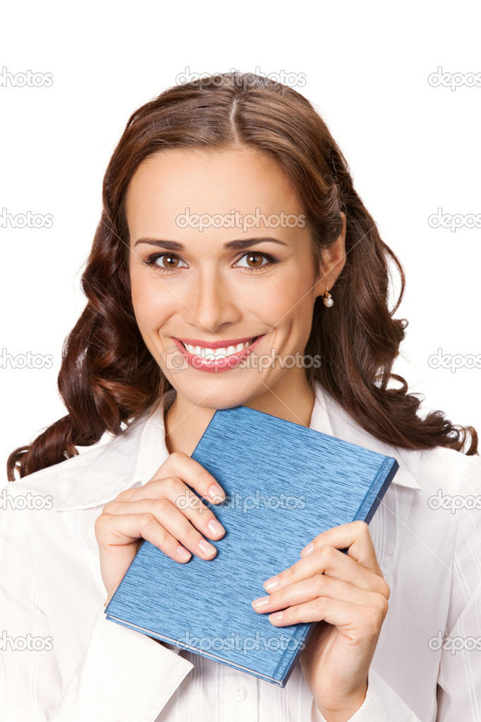 Happy smiling cheerful young business woman with notepad, isolated on white background  Stock Photo #6299822