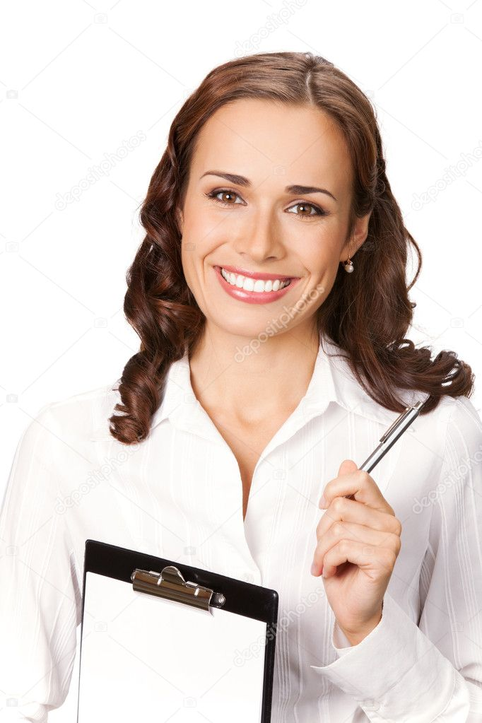 Happy smiling young businesswoman with clipboard, isolated on white background — Stock Photo #6299869