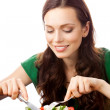 Portrait of happy smiling woman eating salad on plate, isolated — Stock Photo