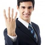 Happy smiling businessman, on white — Stock Photo