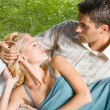 Young happy amorous couple together, outdoors — Stock Photo #6304943