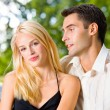 Portrait of young happy attractive couple together, outdoors — Stock Photo #6305015