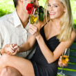 Young happy amorous couple together, outdoors — Stock Photo