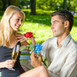 Funny young happy couple with gift and rosa, outdoors — Stock Photo