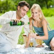 Young happy couple celebrating with champagne at picnic — Stock Photo #6305414