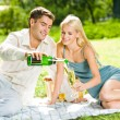 Stock Photo: Young happy couple celebrating with champagne at picnic
