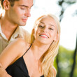 Young attractive happy love couple together, outdoors — Stock Photo #6305782