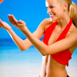 Young beautiful happy smiling blond woman in sportswear playing — Stock Photo #6306775