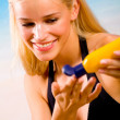 Young beautiful sexy blonde tanned happy smiling woman with sun- — Stock Photo