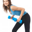 Young happy woman doing exercises with dumbbells, isolated on wh — Stock Photo #6308550