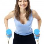 Frau Übungen mit Hanteln und Expander, isoliert auf w — Stockfoto