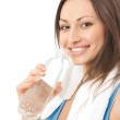 Photo of woman in sportswear with water, isolated on white backg — Stock Photo