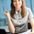 Young happy smiling successful businesswoman — Foto de Stock