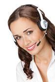 Mulher de negócios sorridente no fundo branco — Foto Stock