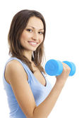 Young woman in sportswear with dumbbell, isolated on white — Stock Photo