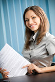 Young happy smiling successful businesswoman — Stock Photo